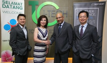 (L-R): Dennis Looi, Chief Executive Officer, TC iTech Sdn. Bhd, Dato' Rosie Tan, Executive Vice President, Tan Chong Motor Holdings Bhd, Abhijit Banerjee, Vice President & Business Head of APAC - Servion Global Solutions, Albert Chai, Country Manager, Cisco, Malaysia