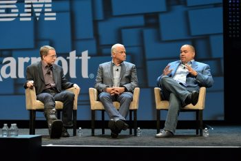 (L-R): Gelsinger, IBM's LeBlanc and their joint customer from Marriot Group, Alan Rosa who is SVP of Tech Delivery and Security