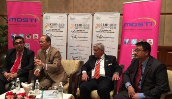 (L-R): Deputy MOSTI minister, Dr. Abu Bakar bin Mohamad Diah, MOSTI Minister, CSM Chairman of board of directors, Tan Sri Dato' Seri Panglima Mohd Azumi Mohamed, and CSM CEO, Dr. Airudin bin Abdul Wahab