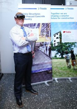 Barry Chapman, Trimble Structures Division's Director of Engineering, wearing the prototype Microsoft HoloLens