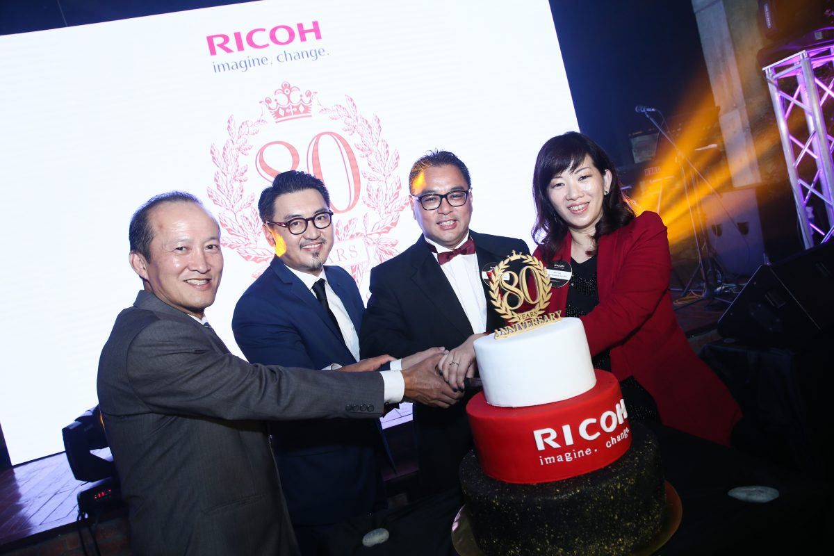 (L-R): Lee Choon Heng, General Manager for Service Division of Ricoh Malaysia Sdn Bhd, Nick Tan, General Manager of Marketing of Ricoh Malaysia Sdn Bhd, Peter Wee, Managing Director of Ricoh Malaysia Sdn Bhd and Alice Lee, Sales Director for Business Technology Division of Ricoh Malaysia Sdn Bhd at Ricoh's 80th anniversary!
