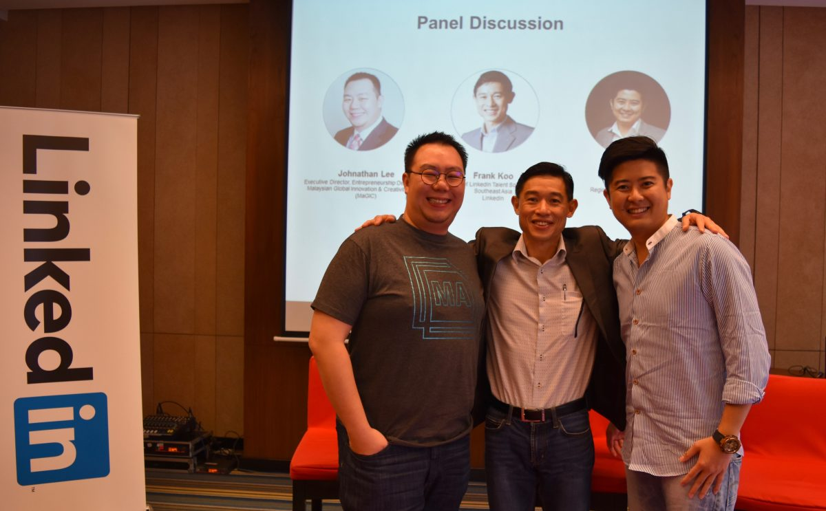(FROM LEFT) JOHNATHAN LEE, EXECUTIVE DIRECTOR OF ENTREPRENEURSHIP DEVELOPMENT OF (MAGIC) MALAYSIAN GLOBAL INNOVATION & CREATIVITY CENTRE; FRANK KOO, HEAD OF SOUTHEAST ASIA (TALENT SOLUTIONS) OF LINKEDIN; IAN HO, REGIONAL MANAGING DIRECTOR OF SHOPEE.