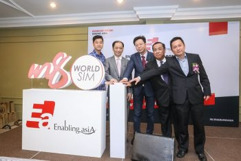 Mr Loke Yee Siong (second from right), Group Chief Executive Officer of Enabling Asia Tech Sdn Bhd officiating the launch of m8 World SIM Product. With him are (from left) Mr Jeff Bong, Representative from U Mobile Sdn Bhd.; Dato Sri Dr Eric Yap, Chairman of Enabling Asia Tech Sdn Bhd; Mr Jason Ho, Founder and Chairman of Taisys Technologies Co Ltd Taiwan; and Mr Alex Lim, Executive Director of Enabling Asia Tech Sdn Bhd.