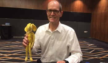 Doug Cutting with his daughter's toy elephant, Hadoop, which is also the name of the open source big data management framework that he founded.