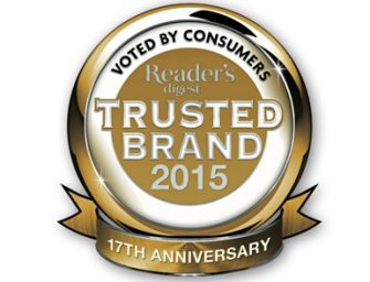 Maybank, SP Setia,  Canon,  Spritzer,  winners of Readers Digest Trusted  Brands Awards 2016