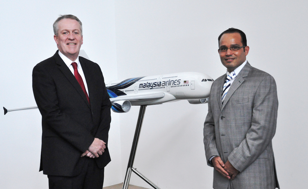 Peter Bellew, Chief Executive Officer and Group Managing Director, Malaysia Airlines Berhad (L) and Hazem Hussein, Executive Vice President, Airline Group, Amadeus Asia Pacific, Turkey & Eastern Europe